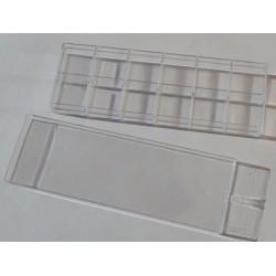 Boîte à compartiments en acryl pour perles 5 x 15 cm