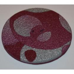 Perle Fimo ronde 45 mm bordeaux argent