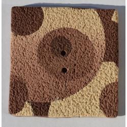 Perle Fimo carrée 40 mm brune