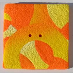 Perle Fimo carrée 40 mm orange