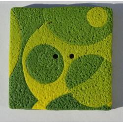 Perle Fimo carrée 40 mm verte