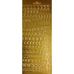 Autocollants alphabet majuscules or 10 x 24 cm