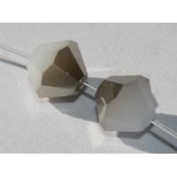 Toupie Swaro 4mm White Alabaster metallic silver