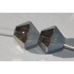 Toupie Swaro 4mm White opal metallic silver