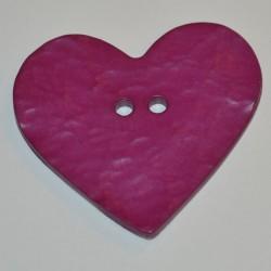 Coeur résine 4 x 3 cm fuchsia