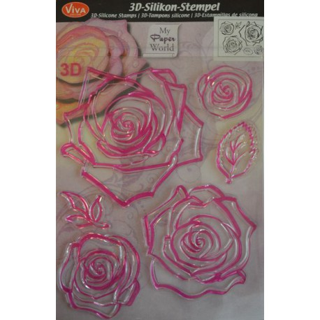 Tampon silicone 3D Rose