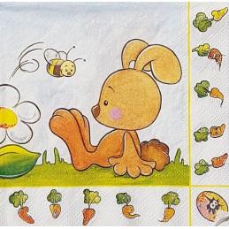 Serviette Lapins et abeille