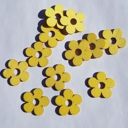 Fleurs jaunes en bois 2 cm,...