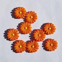Fleurs oranges en bois 2...