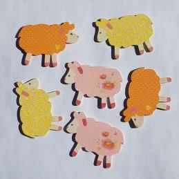 Moutons en bois assortis 5...