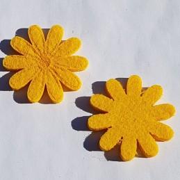 Fleurs feutrine jaune 4 cm, 4p